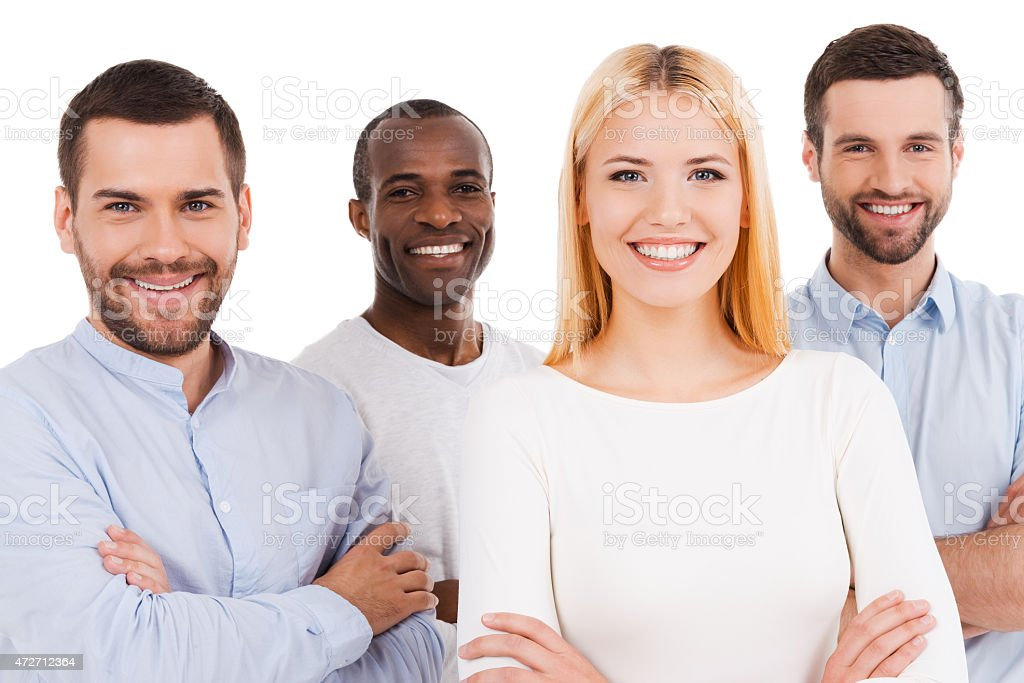 Happy to be a team. stock photo