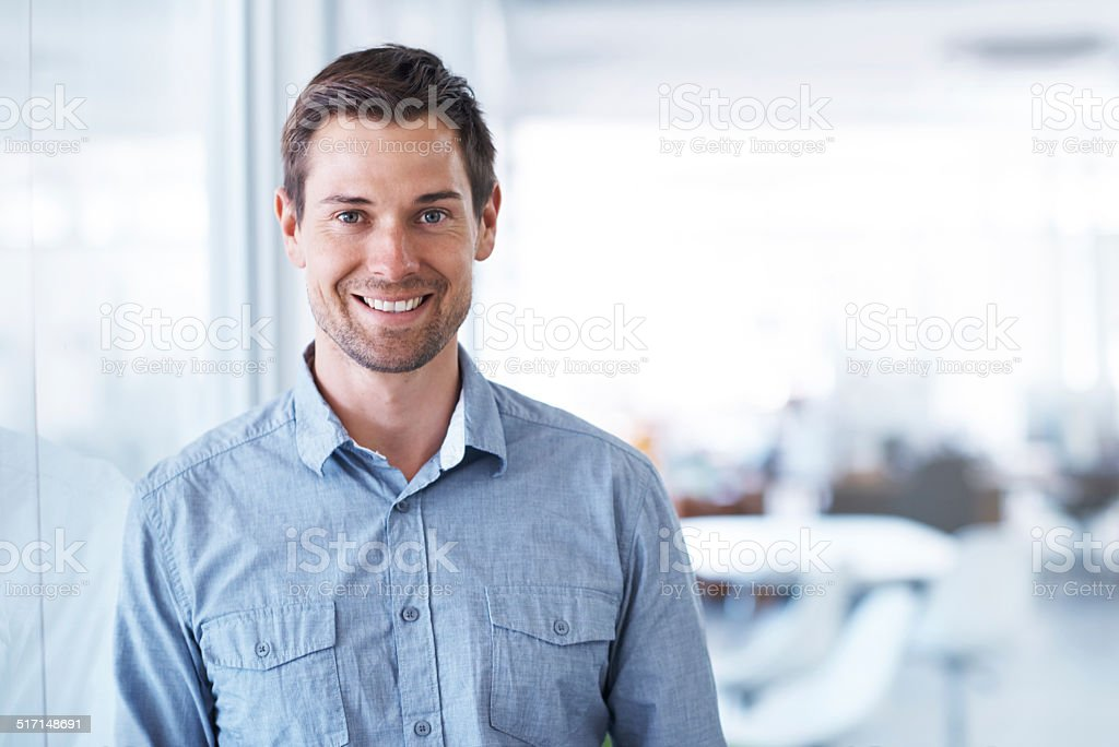 Happy to be at work stock photo
