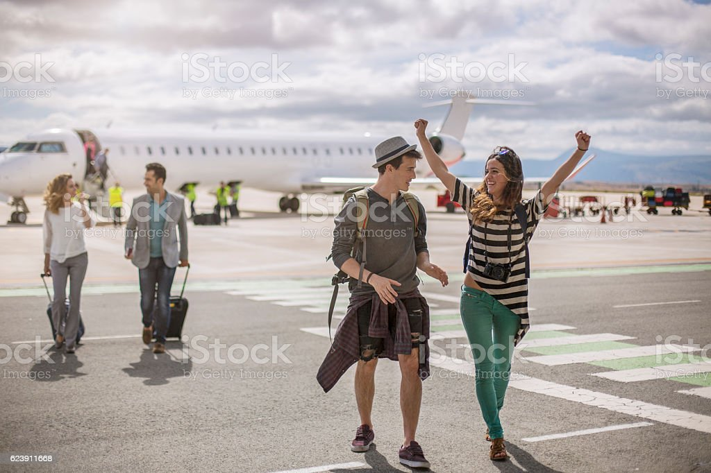 Happy to be on holiday stock photo