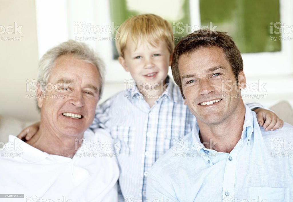 Happy to be with his son and dad royalty-free stock photo