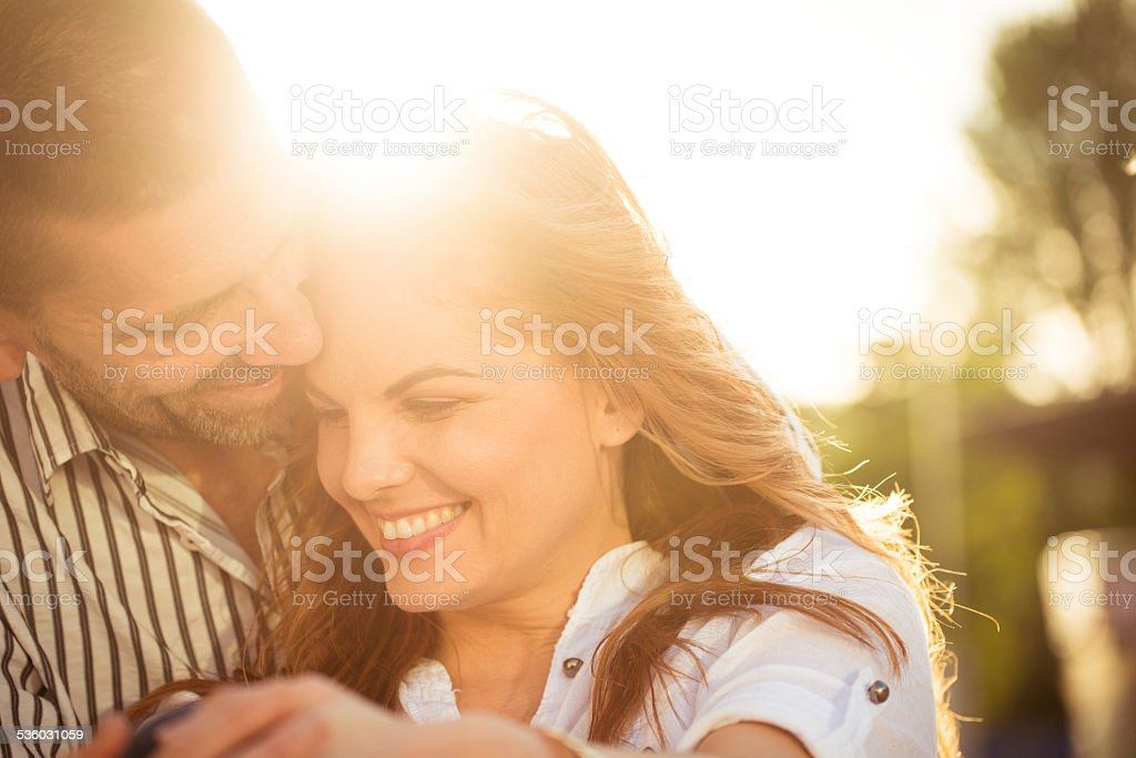 Happy together - couple in love stock photo