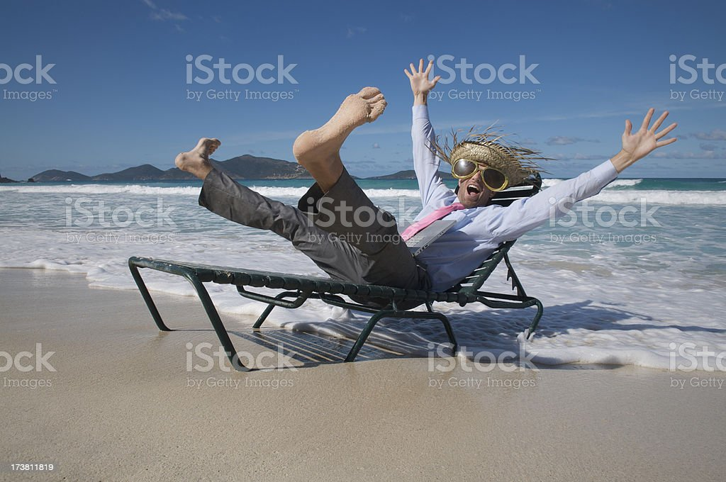 Happy Tourist Businessman Celebrating in Beach Chair Surf royalty-free stock photo
