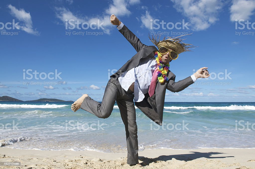 Happy Tourist Businessman Dancing Crazy on the Beach royalty-free stock photo