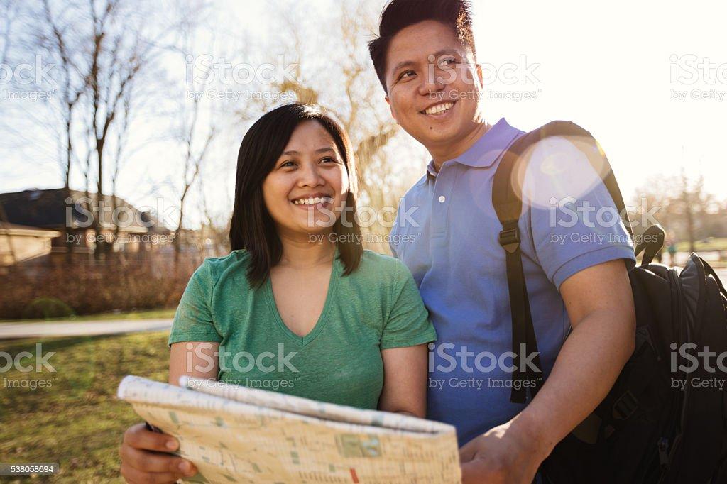 Happy tourist stock photo
