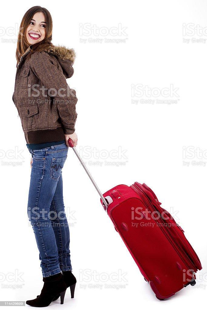 Happy tourist woman royalty-free stock photo
