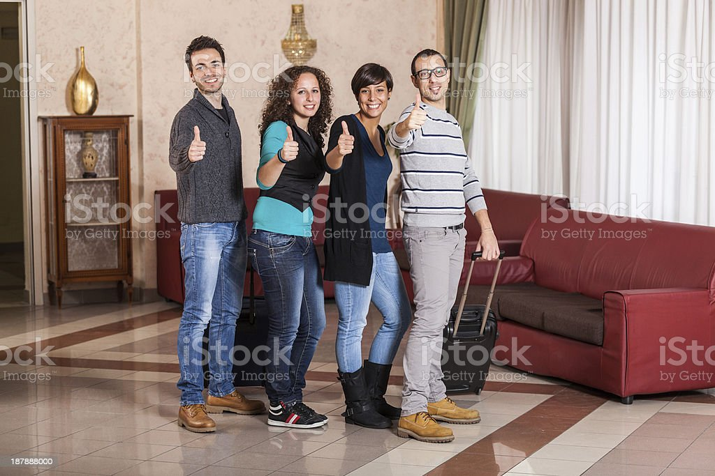 Happy Tourists with Thumbs Up royalty-free stock photo