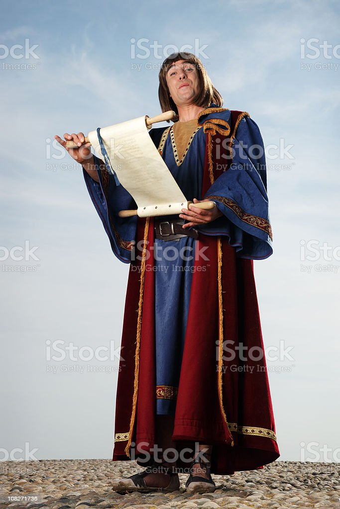 Happy Town Crier stock photo