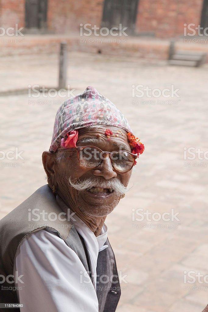 Happy Traditional Newari man Nepal stock photo