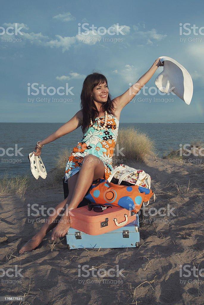 happy traveler girl stock photo
