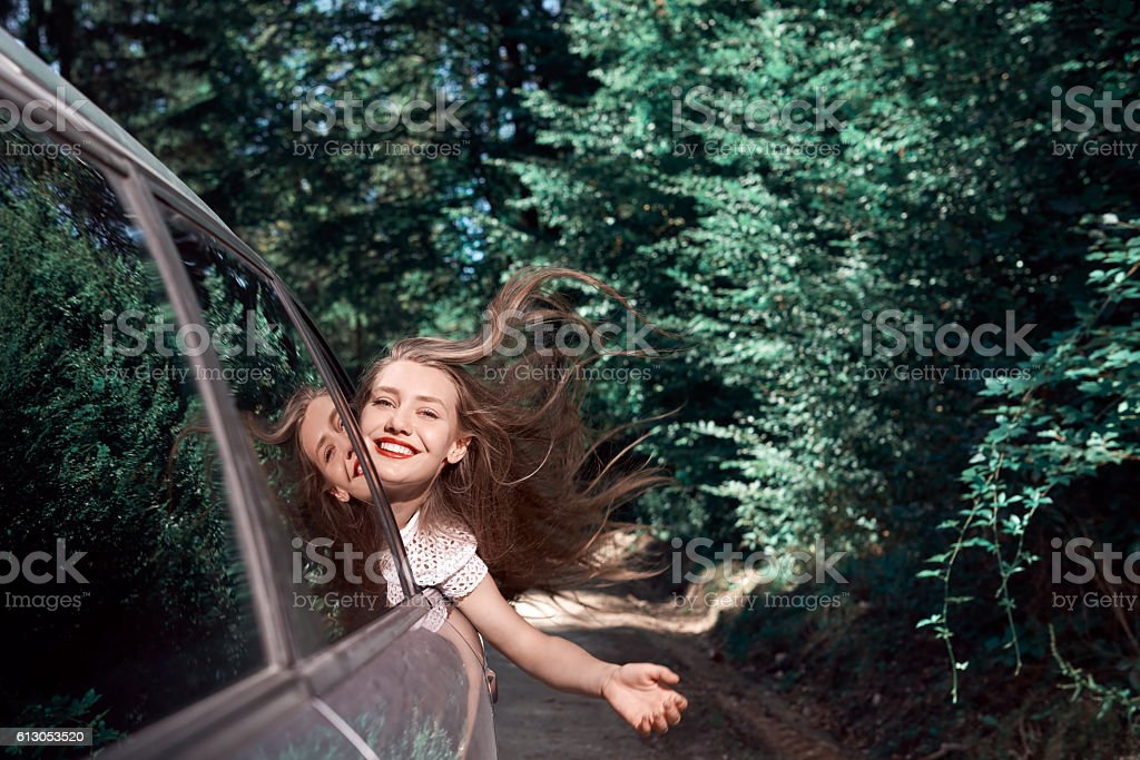 happy trip in nature with the car stock photo