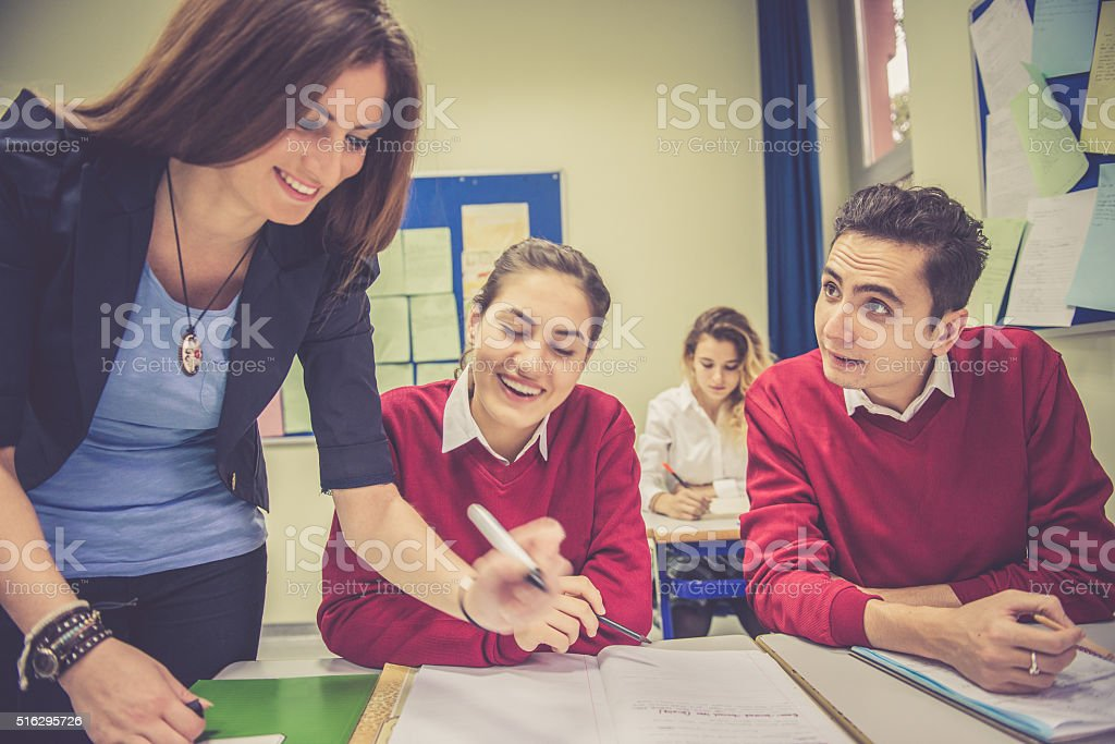 Happy Turkish Students and Teacher Working Together, School, Istanbul stock photo