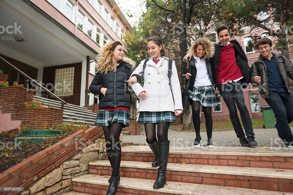 Happy Turkish Students Leaving for Home, College Campus, Istanbul stock photo