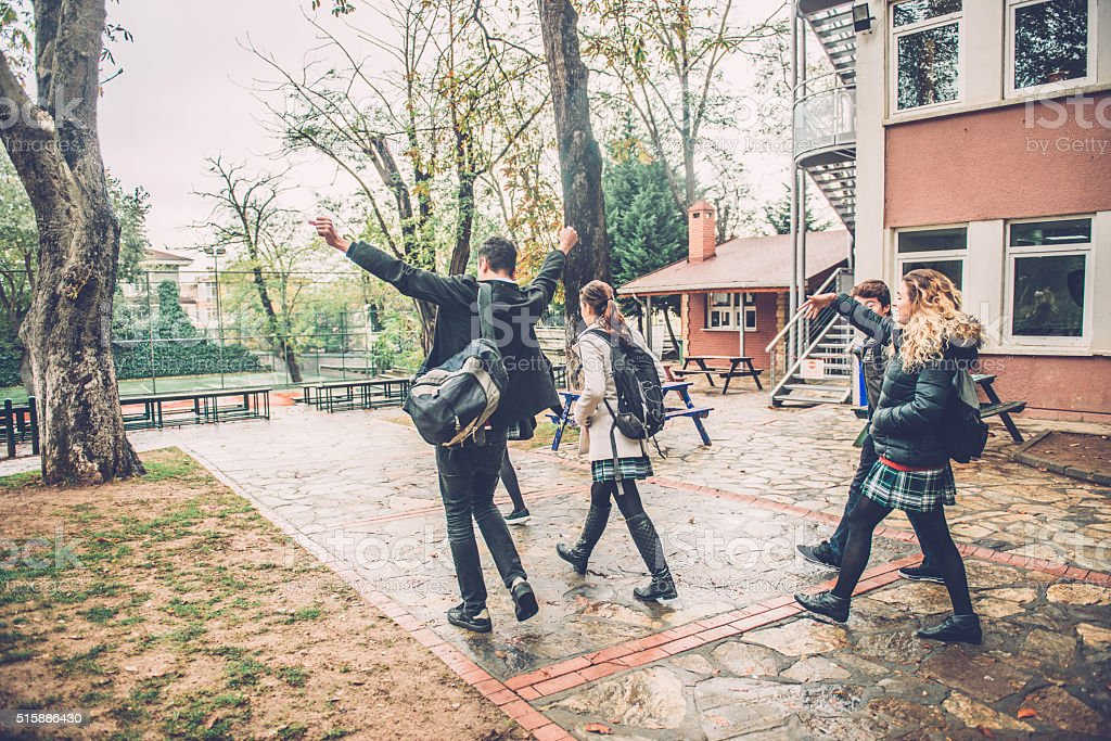 Happy Turkish Students Leaving School, Campus in Istanbul stock photo