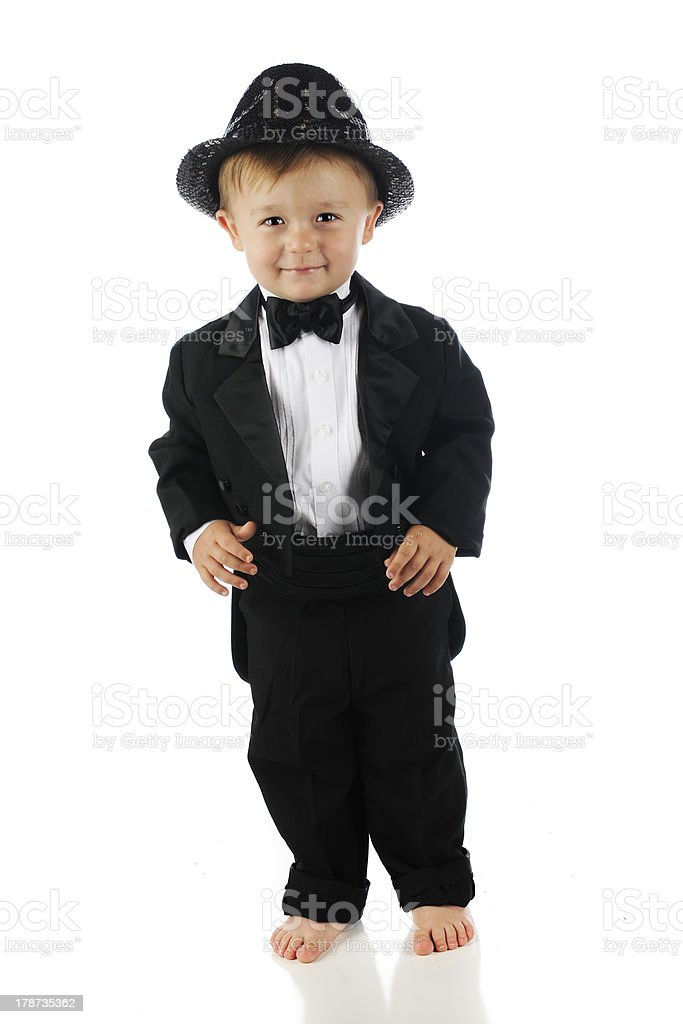 Happy Tuxed Toddler royalty-free stock photo
