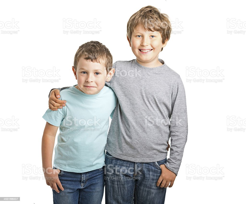 happy two brothers royalty-free stock photo