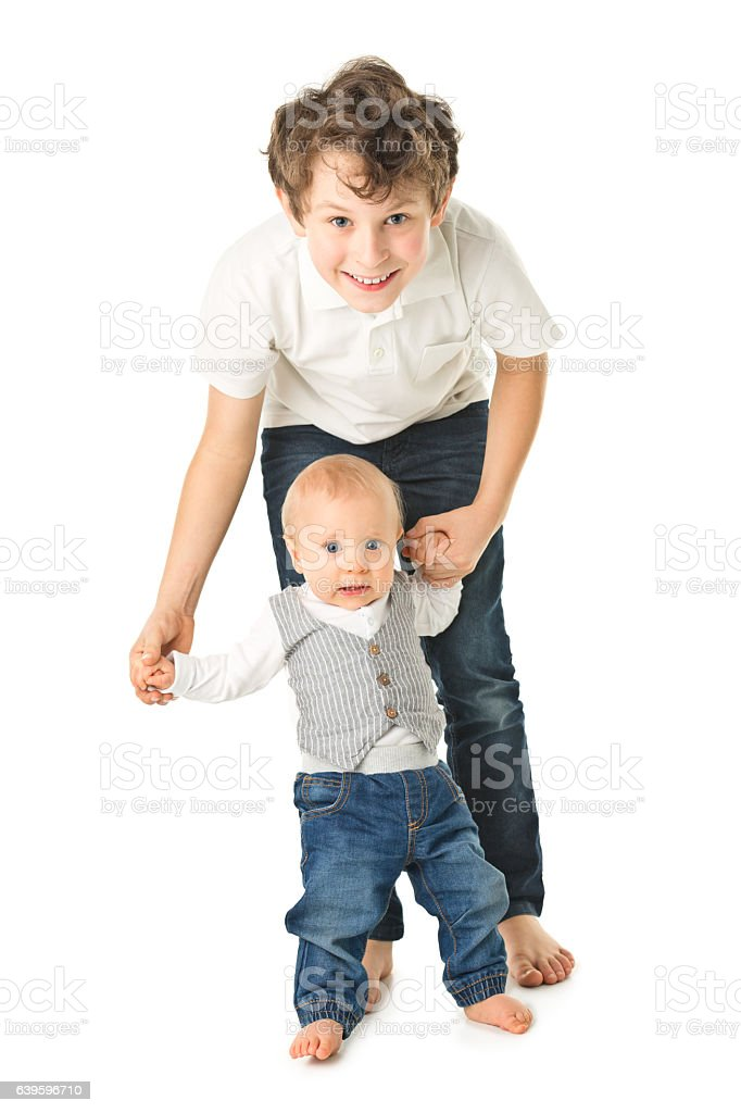 happy two brothers stock photo