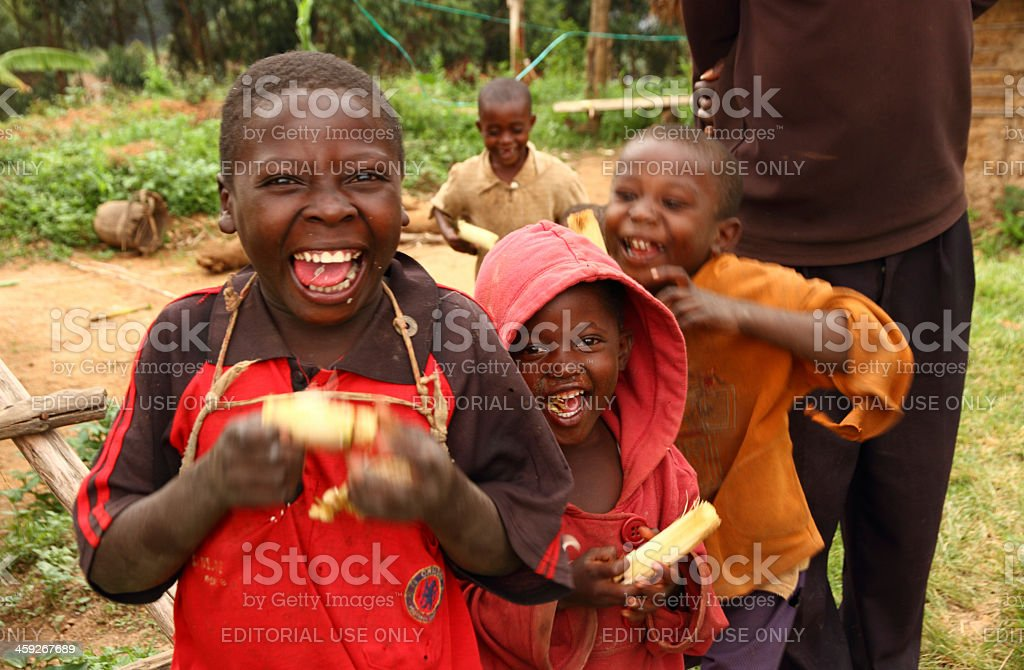 Happy Ugandan Children Eating Sugarcane stock photo