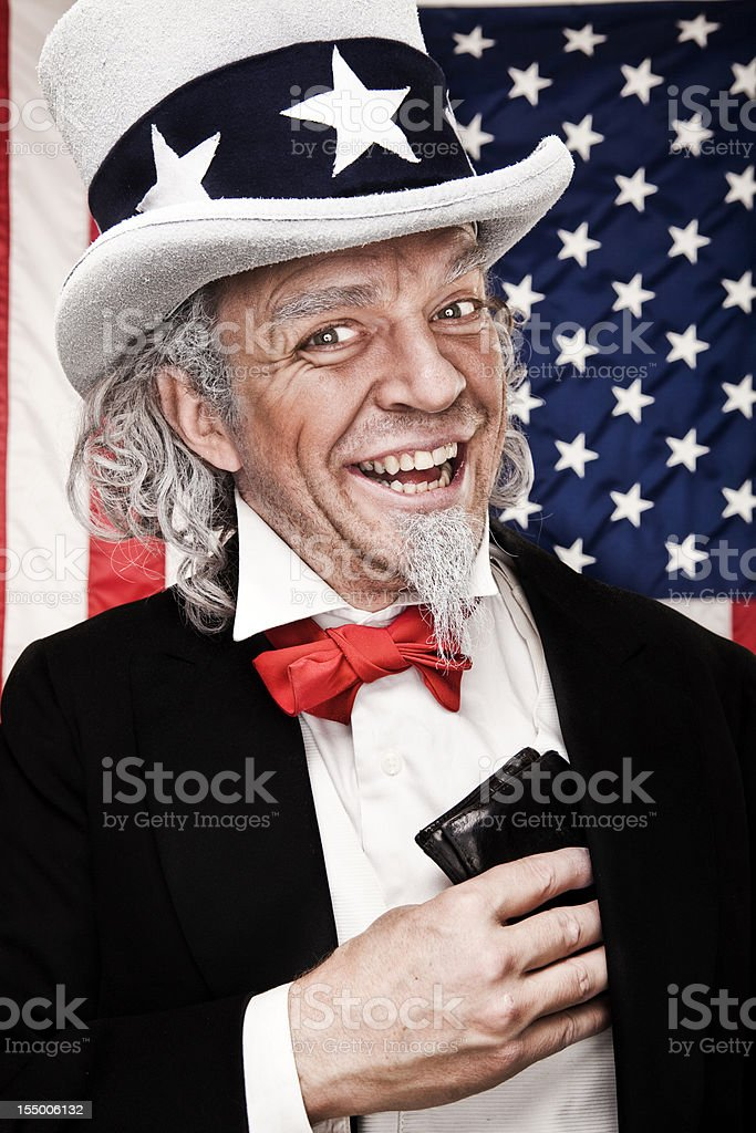 Happy Uncle Sam with Wallet stock photo