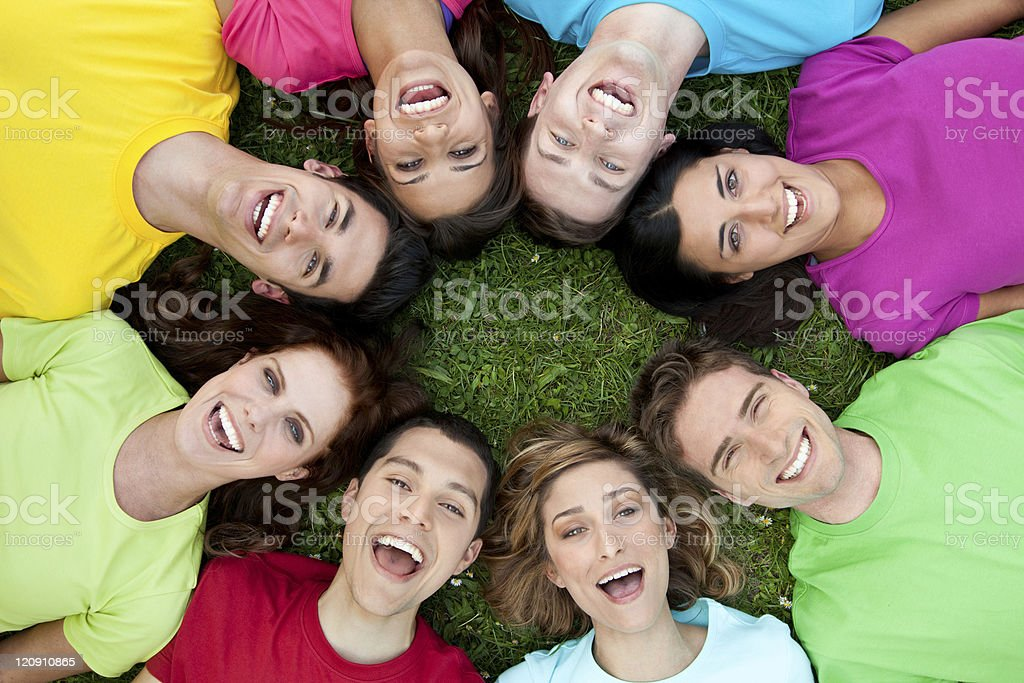 Happy united friends royalty-free stock photo