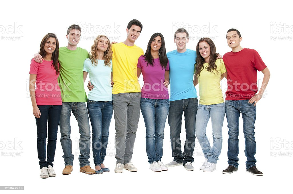 Happy united teenager friends stock photo