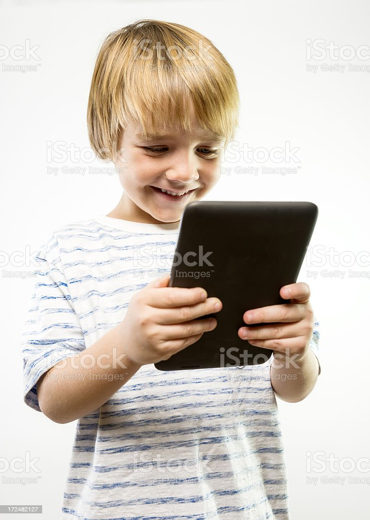 Happy using a tablet royalty-free stock photo