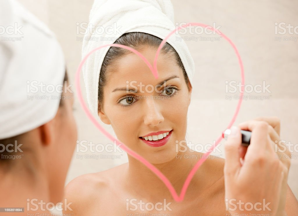 Happy Valentine - Beautiful woman drawing a Heart (XXXL) royalty-free stock photo