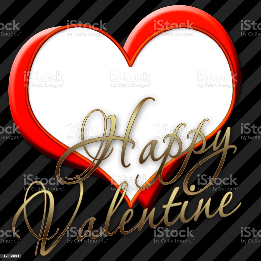Happy Valentine in shiny golden text, Diagonal black background, 2 hearts on one another, white background and copy space for your text message. stock photo