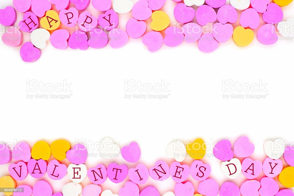 Happy Valentines Day candy hearts double border over white stock photo