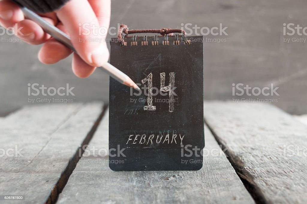 Happy Valentine's day idea, 14 February calendar stock photo