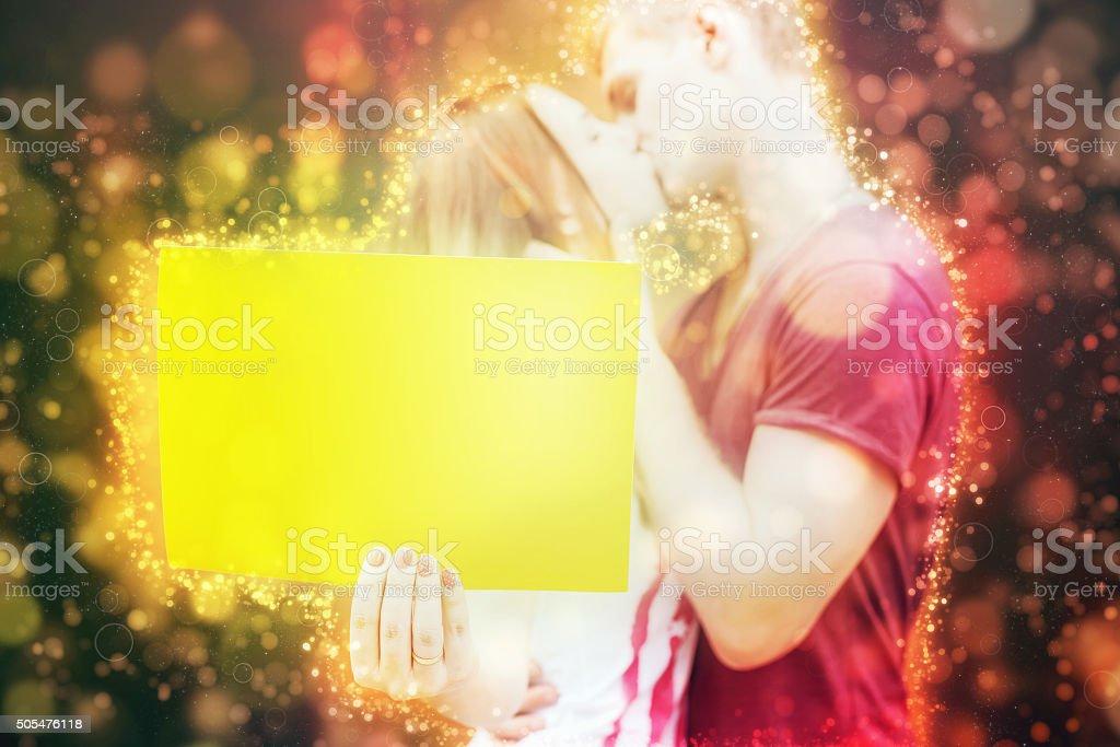 Happy Valentines Day, kissing couple stock photo