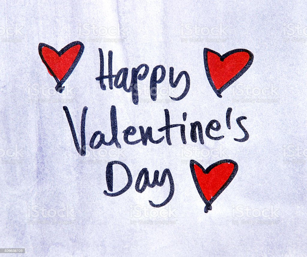 happy valentines day note stock photo