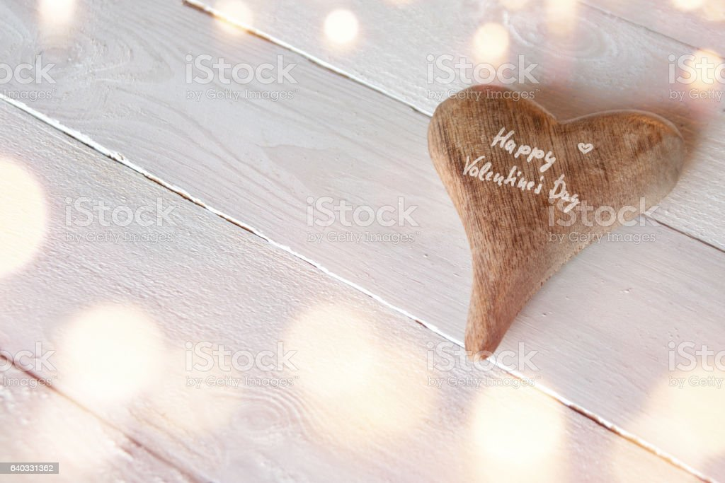 Happy Valentines day on a heart stock photo