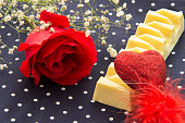 Happy Valentine's day. Red rose, heart and chocolate