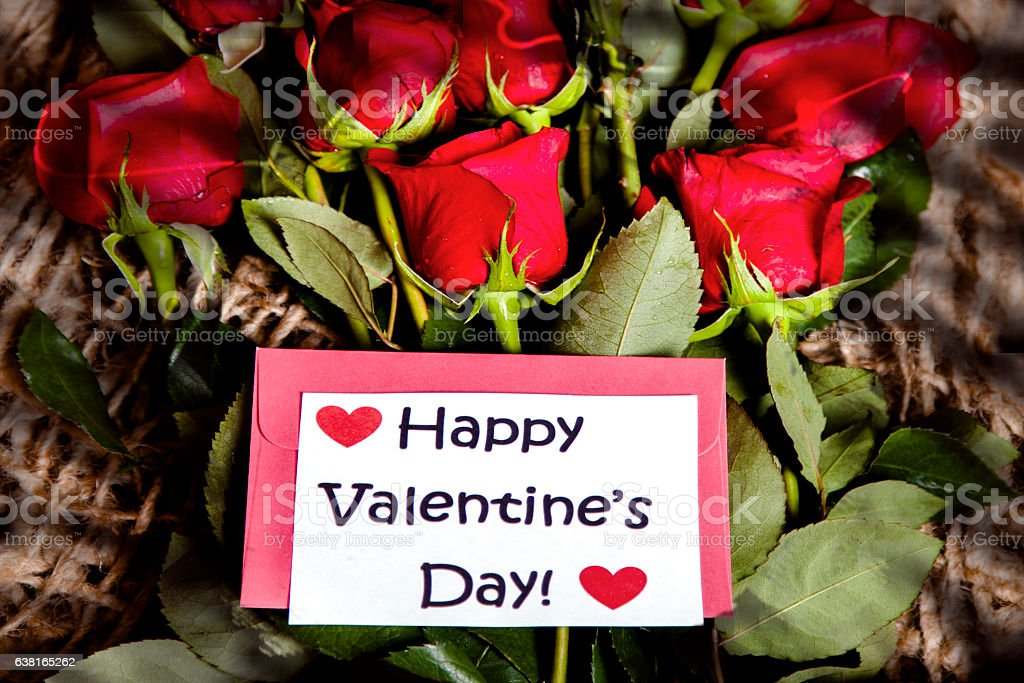 Happy Valentine's Day! Red roses bouquet, notecard. stock photo