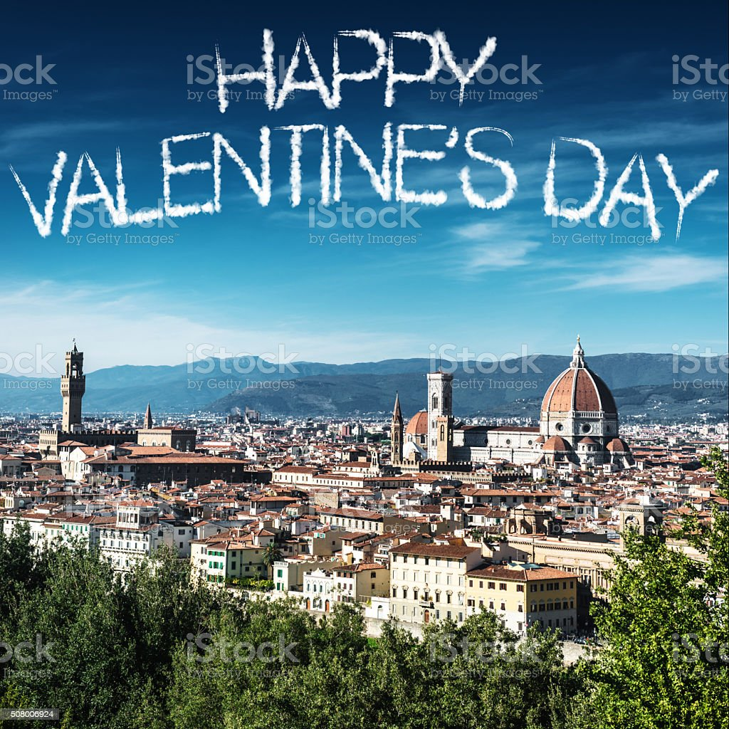happy valentine's day text over Florence stock photo