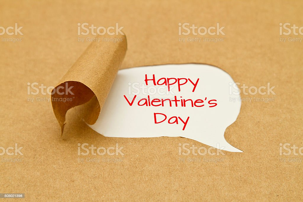 Happy valentines day torn paper stock photo