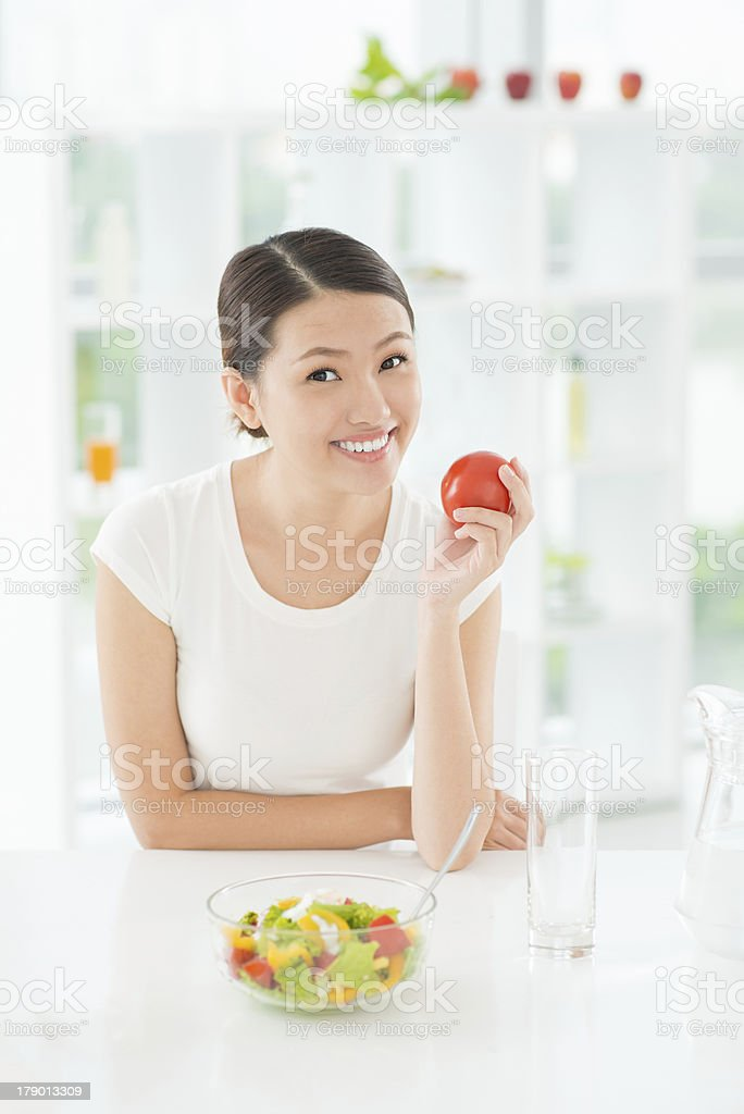 Happy vegan royalty-free stock photo
