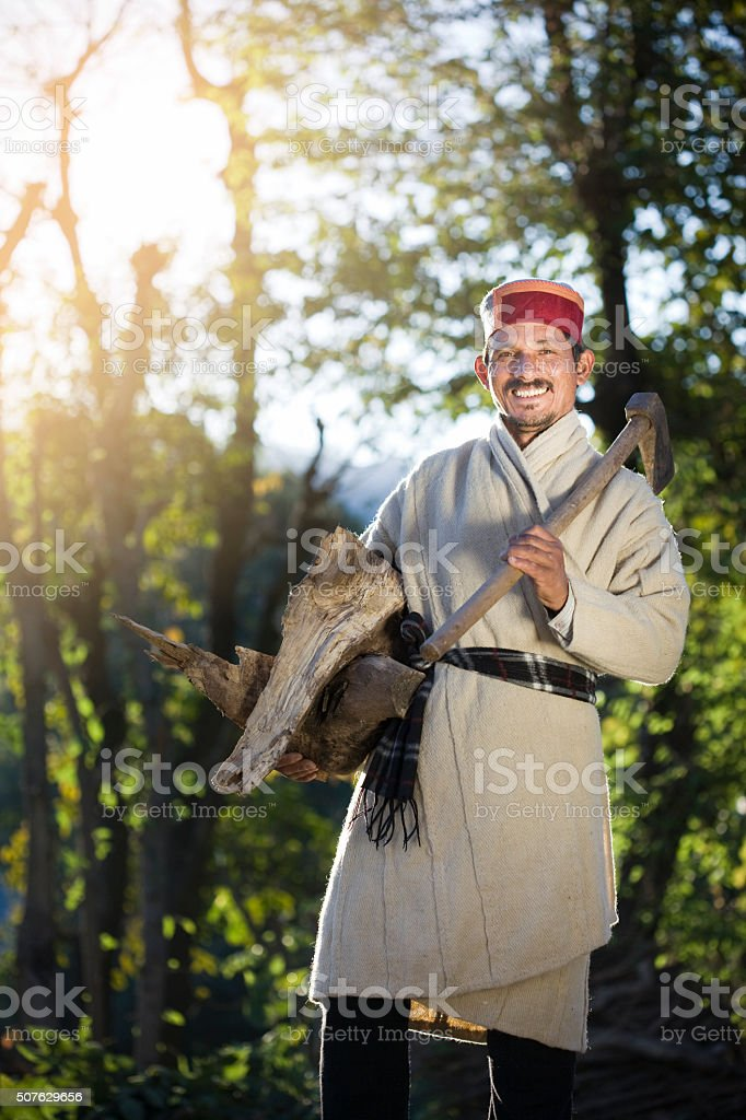 Happy village man of Himachal Pradesh with wood and axe. stock photo