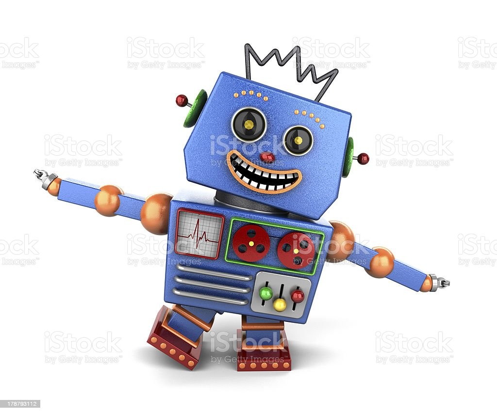 Happy vintage toy robot playing airplane royalty-free stock photo