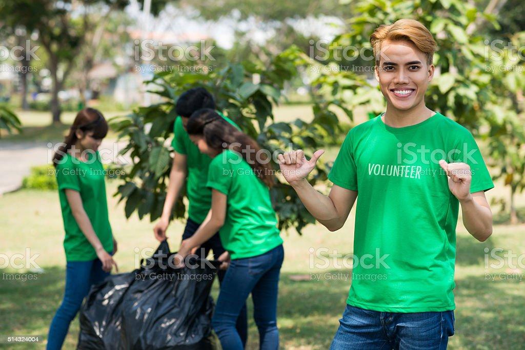 Happy volunteer stock photo