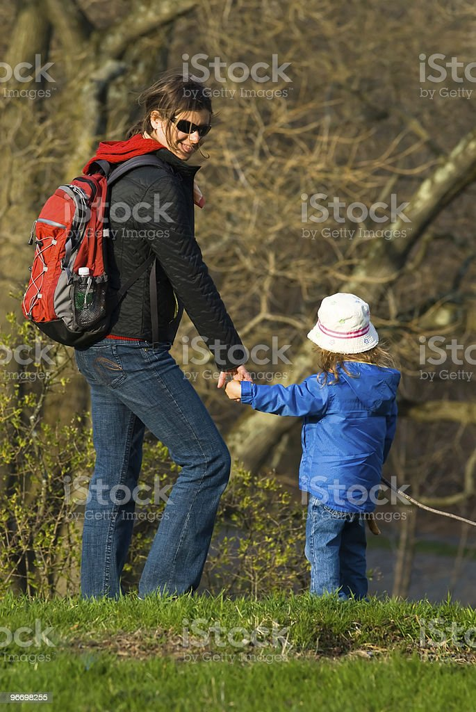 Happy walk in the forest royalty-free stock photo