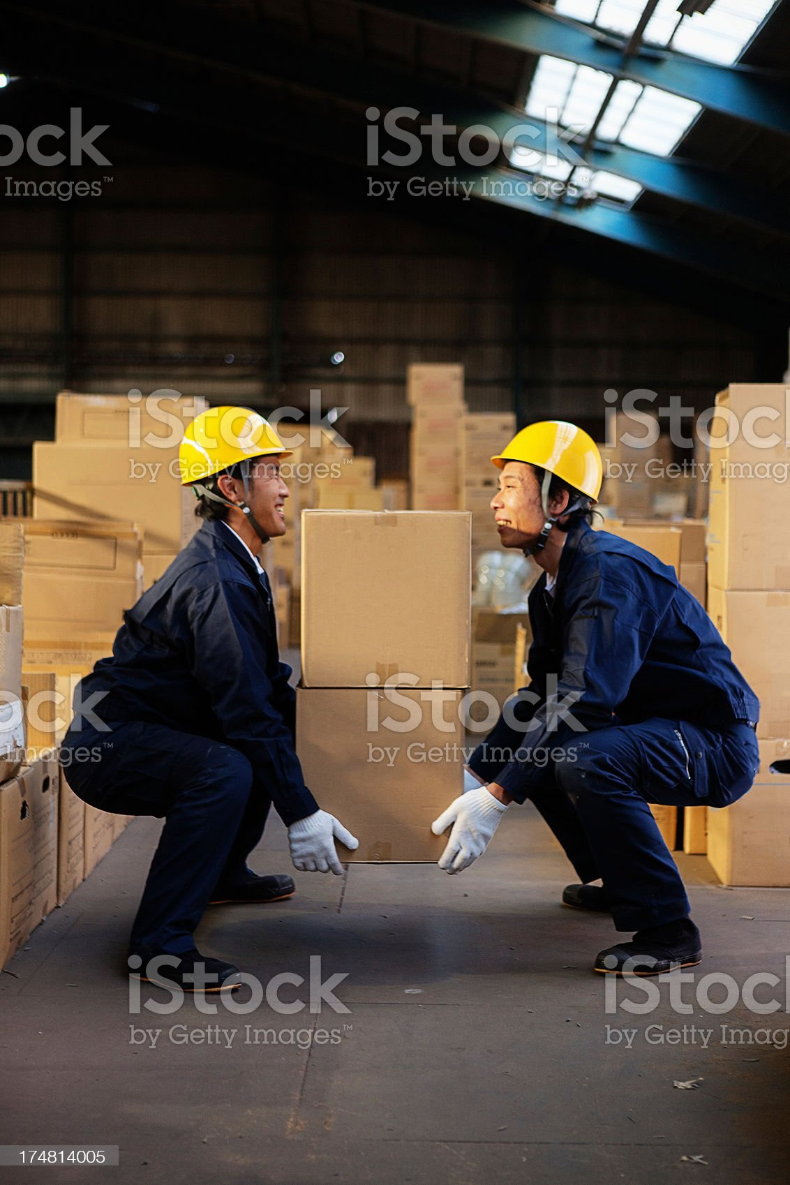 Happy warehouse workers royalty-free stock photo