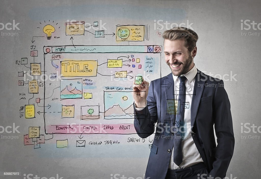 Happy web designer working stock photo