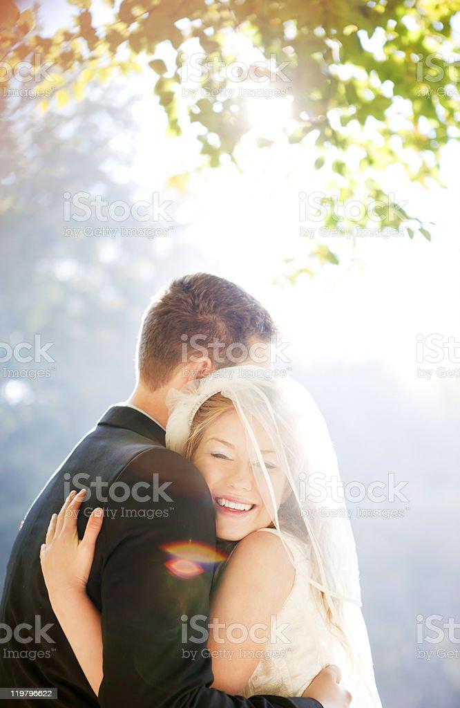 Happy wedding couple royalty-free stock photo