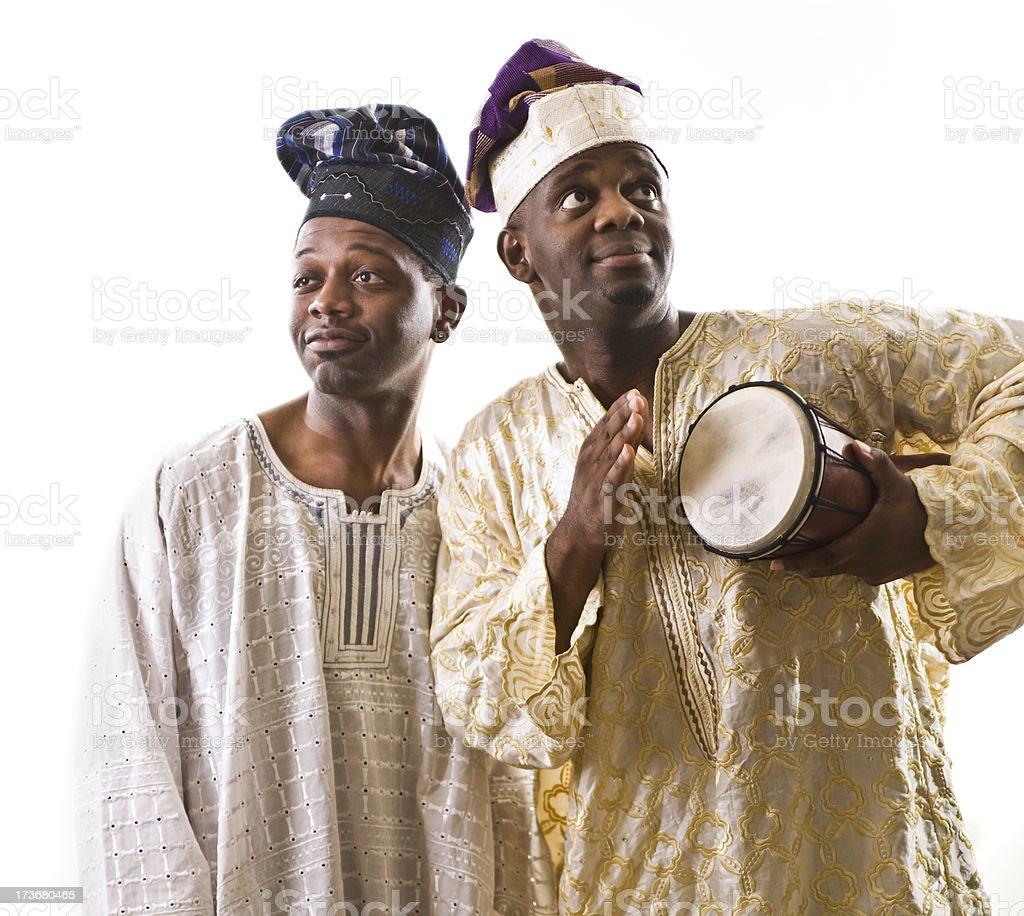 Happy West African Musicians Isolated on White royalty-free stock photo