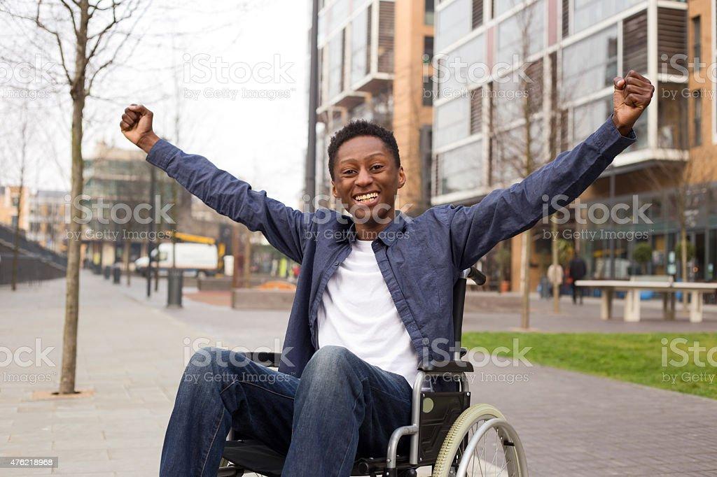 happy wheelchair royalty-free stock photo