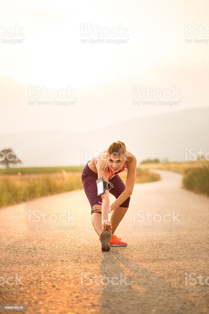 Happy when  working out stock photo