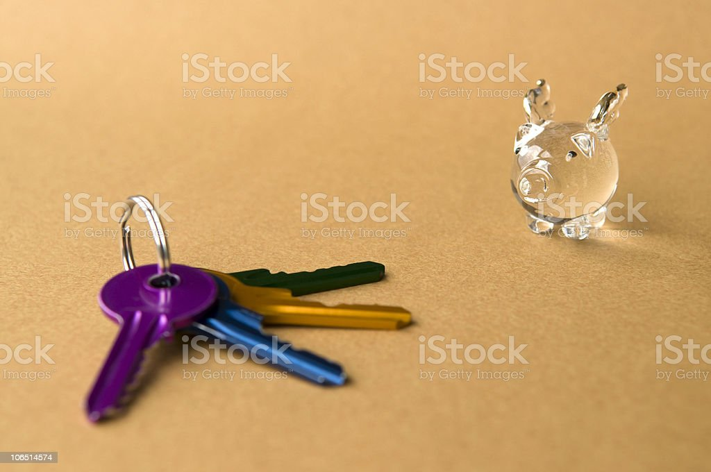 Happy Winged Pig and Four Keys royalty-free stock photo