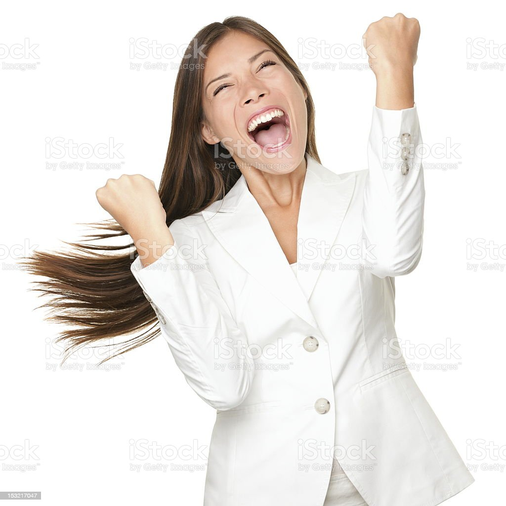 Happy winner - success business woman stock photo