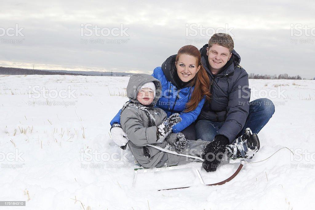 Happy winter family royalty-free stock photo